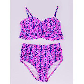 Flounced Bra High Waisted Bikini Set - HOT PINK L
