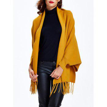 Batwing Sleeves Loose-Fitting Fringed Cape Cardigan