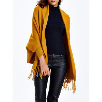 Batwing Sleeves Loose-Fitting Fringed Cape Shawl - EARTHY ONE SIZE