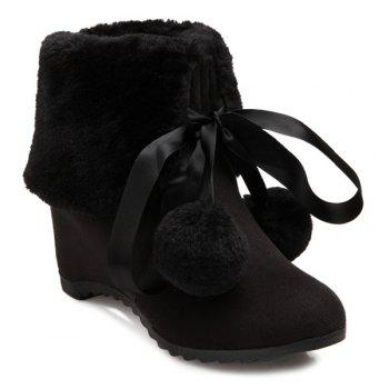 Pompon Tie Up Hidden Wedge Short Boots