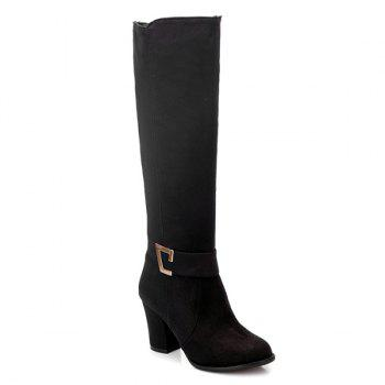 Dark Colour Zipper Metal Boots