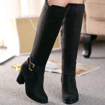 Dark Colour Zipper Metal Boots - BLACK 38