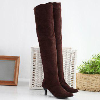 Round Toe Flock Kitten Heel Thigh Boots
