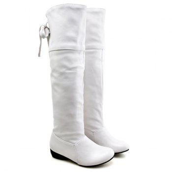 PU Leather Tie Up Flat Heel Knee High Boots