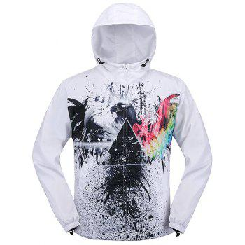 Drawstring Hooded Paint Pattern Print Zip Up Jacket