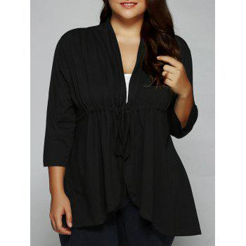 Asymmetric Drawstring Tied-Up Blouse