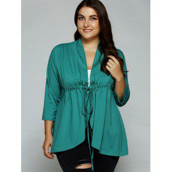 Asymétrique Drawstring Tied-Up Blouse - Vert XL