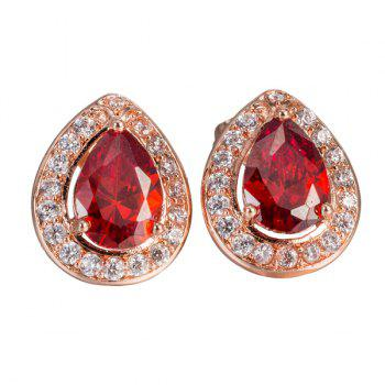 Rhinestone Water Drop Faux Ruby Earrings