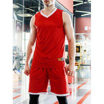 Spliced Design Applique V-Neck Sleeveless Men's Sports Suit ( Tank Top + Shorts )