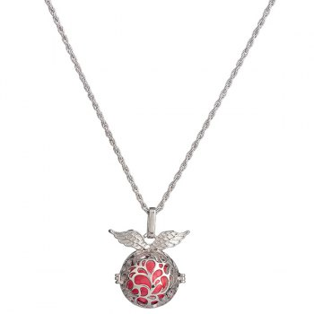 Angel Wings Pregnant Bead Locket Necklace