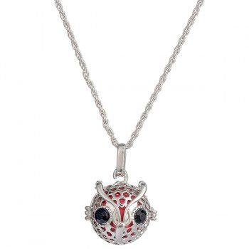 Rhinestone Locket Owl Pregnant Bead Necklace