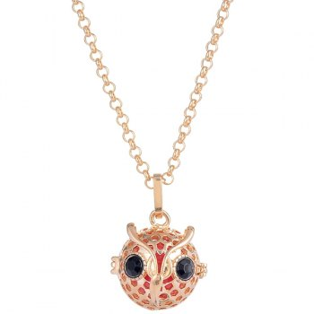 Owl Rhinestone Locket Pregnant Bead Necklace