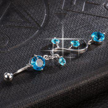 Rhinestone Adorn Navel Button - LAKE BLUE