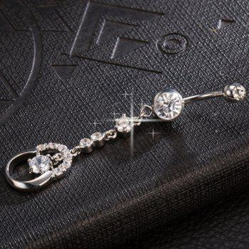 Layered Rhinestone Embellished Navel Button -  SILVER