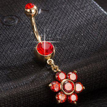 Layered Fleur strass Nombril Bouton - Rouge