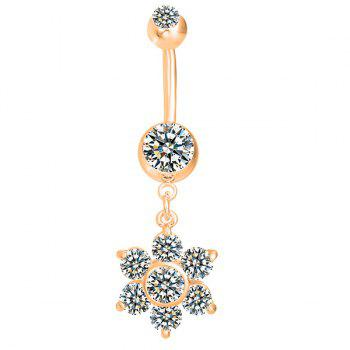 Layered Flower Rhinestone Navel Button