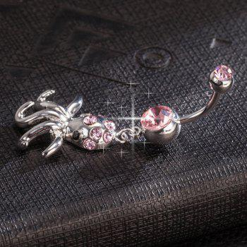 Rhinestone Layered Devilfish Navel Button - PINK