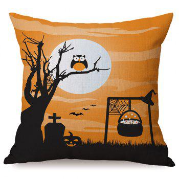 Durable Halloween Sofa Cushion Owl Printed Pillow Case