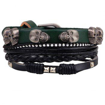 Skull Faux Leather Braided Bracelet