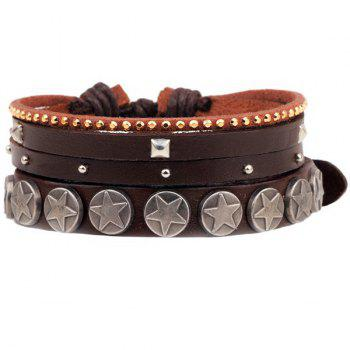 Star Rivet Faux Leather Bracelet