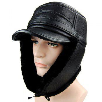 Winter Faux Fur and Earmuff Design PU Military Hat
