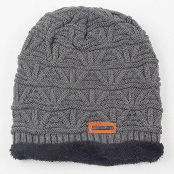 Winter Short Stripe Thicken Double-Deck Knit Ski Hat