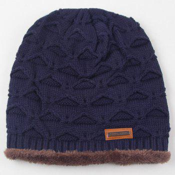 Winter Triangle Thicken Double-Deck Knit Ski Hat - CADETBLUE