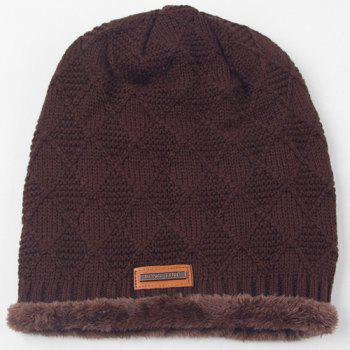 Winter Rhombus Crochet Thicken Double-Deck Knit Ski Hat