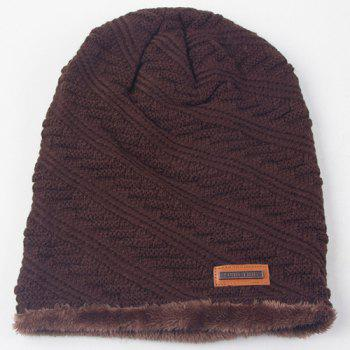 Winter Twill Stripy Thicken Double-Deck Knit Ski Hat