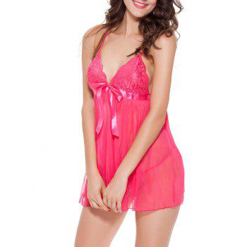 See-Through Backless Mesh Babydoll - ROSE RED XL