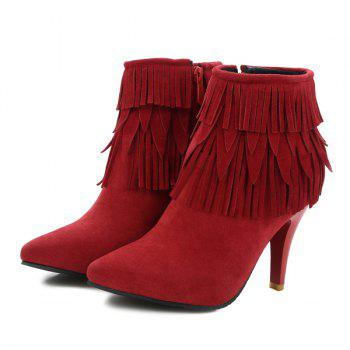 Zipper Stiletto Heel Fringe Boots - RED 41