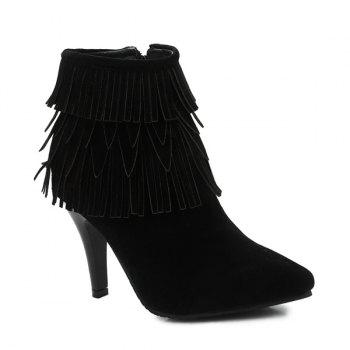 Zipper Stiletto Heel Fringe Boots