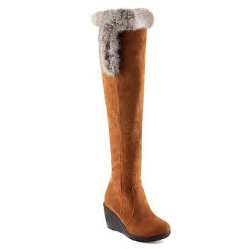 Platform Zipper Faux Fur Thigh Boots
