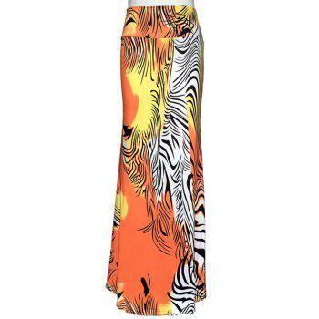 Bohemian Zebra Stripe Maxi High Waisted Skirt
