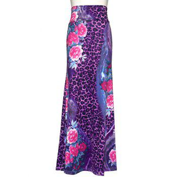 Leopard Floral Print Maxi High Waisted Skirt