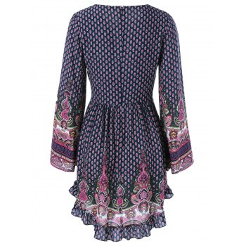 Ethnic Lace-Up Tiny Floral Dress - PURPLISH BLUE L