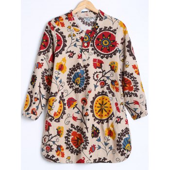 Tribal Print Buttoned Loose Blouse