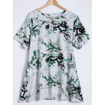 Blossom Print Ink-Painting Blouse