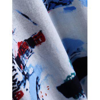 Ink-Painting House Print Furcal Blouse - AZURE ONE SIZE