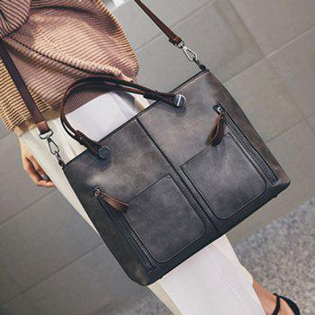 Multi Zips PU Leather Tote