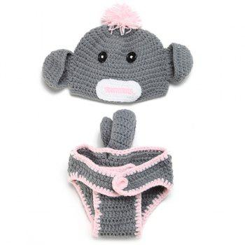 Crochet Hat Baby Monkey Photography Clothes Set
