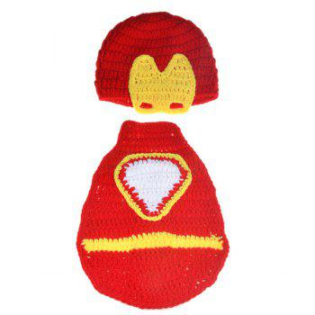 Handmade Crochet Hat Infant Photography Clothes Set - YELLOW AND RED YELLOW/RED