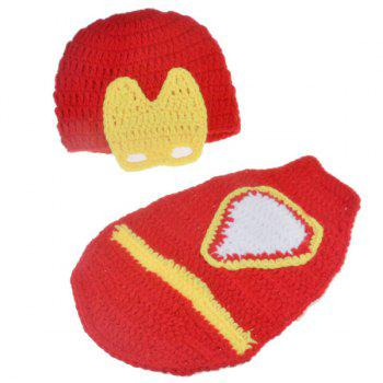 Handmade Crochet Hat Infant Photography Clothes Set - YELLOW/RED