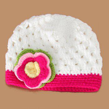 3PCS Crochet Infant Flower Hat Photography Outfits - WHITE