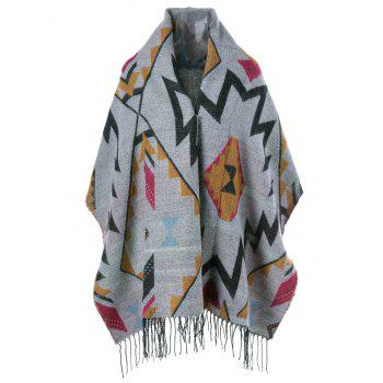 Geometrical Fringed Cape - GRAY GRAY