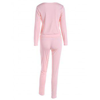 Lace Up Long Sleeve Top + Pants - PINK XL