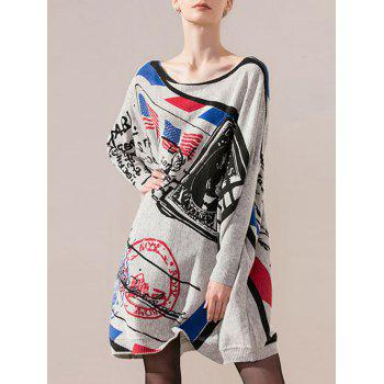 Color Block Print Bat Sleeve Knit Dress
