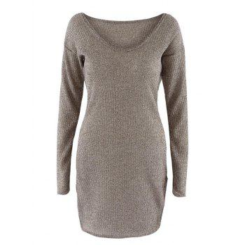 Scoop Neck Long Sleeve Knit Dress