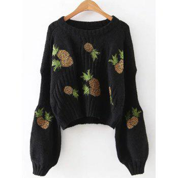 Lantern Sleeve Pineapple Embroidered Cropped Sweater