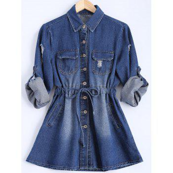 Long Sleeve Button Down Denim Plus Size Dress